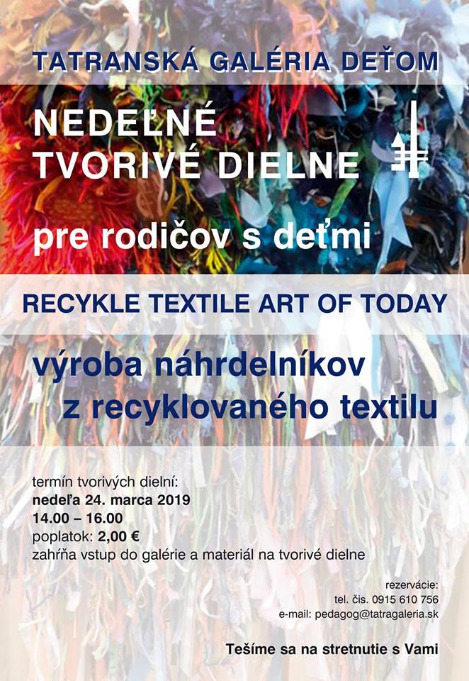 Nedeľné tvorivé dielne – Recykle textile art of today