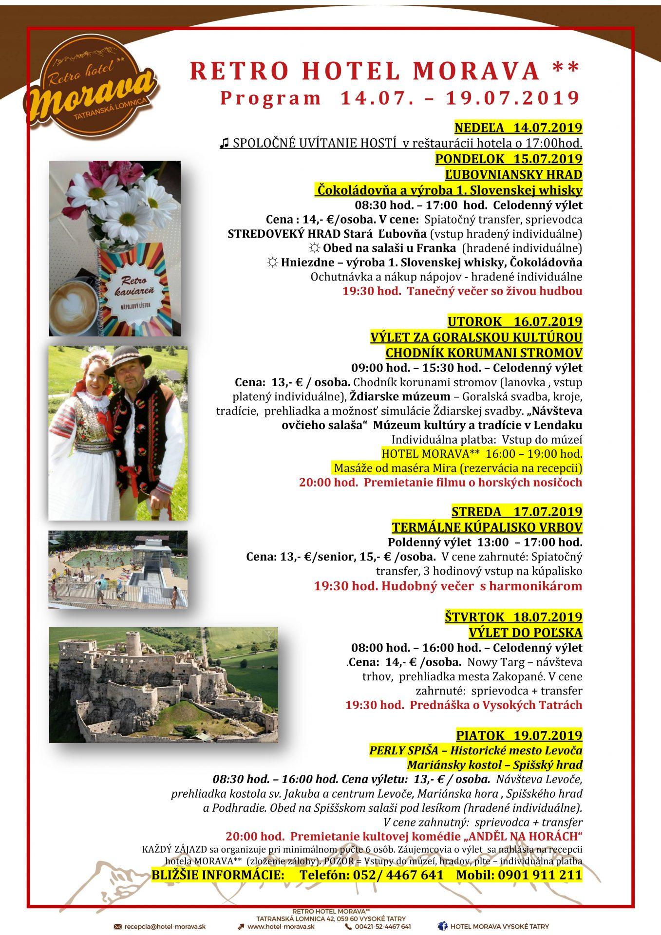 Program Hotela Morava 14.7. – 19.7.2019