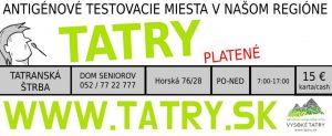 testovacie miesta covid vysoke tatry