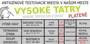 antigen test covid platene vysoke tatry
